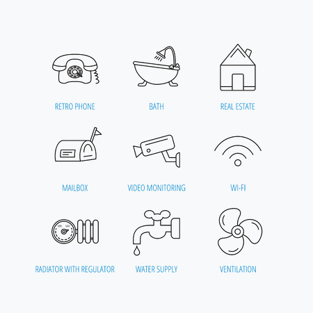 Wifi, vide camera and mailbox icons. Real estate, bath and water supply linear signs. Radiator with heat regulator, phone icons. Linear set icons on white background.