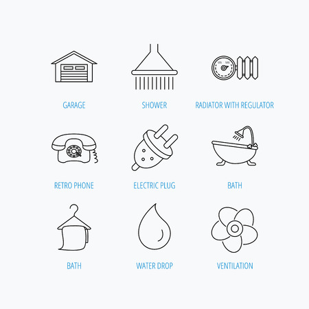 regulator: Ventilation, heat radiator and electric plug. Retro phone, shower and garage linear signs. Water drop, bath towel icons. Linear set icons on white background.