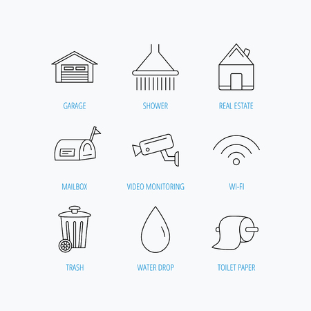 Wi-fi, video monitoring and real estate icons. Toilet paper, shower and water drop linear signs. Trash, garage flat line icons. Linear set icons on white background.