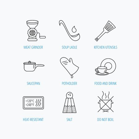 meat soup: Soup ladle, potholder and kitchen utensils icons. Salt, not boil and saucepan linear signs. Meat grinder, water drop and coffee cup icons. Linear set icons on white background. Illustration