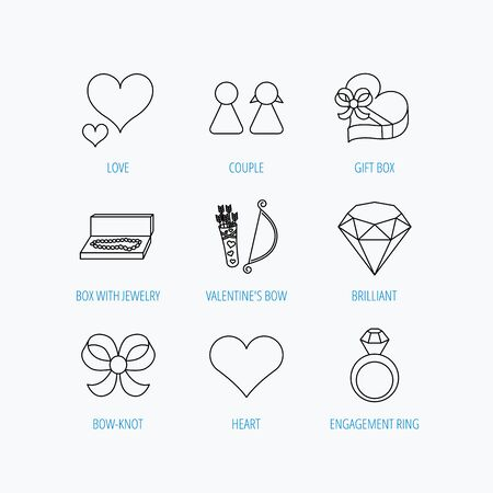 amour: Love heart, brilliant and engagement ring icons. Bow, couple and gift box linear signs. Valentine amour arrows flat line icons. Linear set icons on white background. Illustration