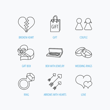 amour: Love heart, gift box and wedding rings icons. Broken heart and couple linear signs. Valentine amour arrows flat line icons. Linear set icons on white background.
