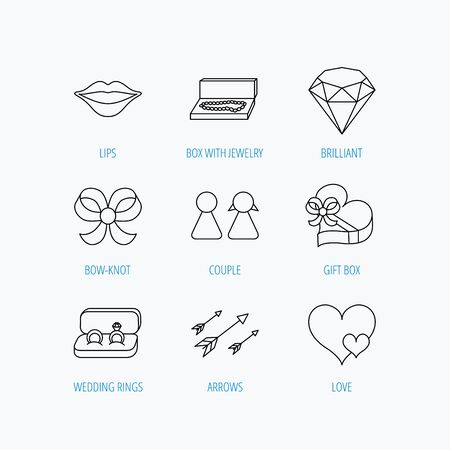 kiss lips: Love heart, gift box and wedding rings icons. Kiss lips and couple linear signs. Valentine amour arrows, brilliant flat line icons. Linear set icons on white background.