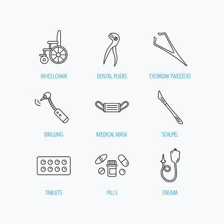 enema: Medical mask, pills and dental pliers icons. Tablets, drilling tool and wheelchair linear signs. Enema, scalpel and tweezers flat line icons. Linear set icons on white background. Illustration