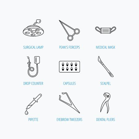 surgical mask: Medical mask, capsules and dental pliers icons. Surgical lamp, scalpel and drop counter linear signs. Tweezers, pipette and forceps flat line icons. Linear set icons on white background. Illustration