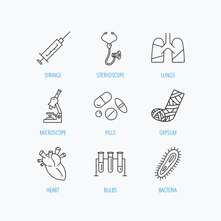 analyses: Broken foot, lungs and syringe icons. Stethoscope, pills and microscope linear signs. Bacteria, heart and lab bulbs flat line icons. Linear set icons on white background. Illustration