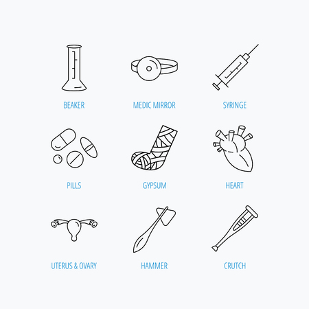 Syringe, beaker and pills icons. Crutch, medical hammer and mirror linear signs. Heart, broken leg and uterus ovary icons. Linear set icons on white background.