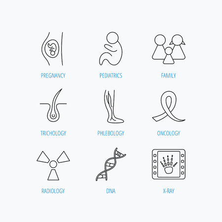 pediatrics: Pregnancy, pediatrics and family icons. Trichology, vein varicose and oncology awareness ribbon linear signs. Radiology, DNA icons. Linear set icons on white background. Illustration