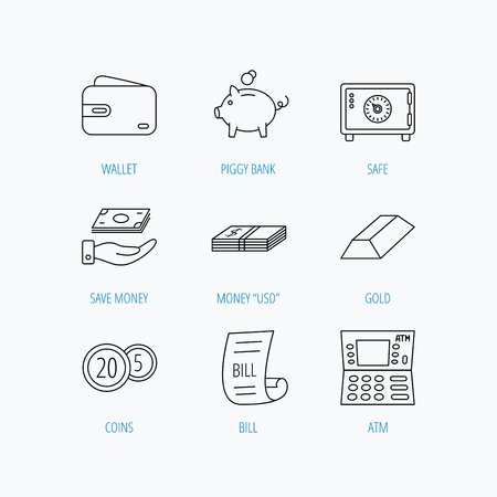 dollar bill: Piggy bank, cash money and wallet icons. Safe box, gold bar and dollar usd linear signs. Bill, coins and ATM icons. Linear set icons on white background. Illustration