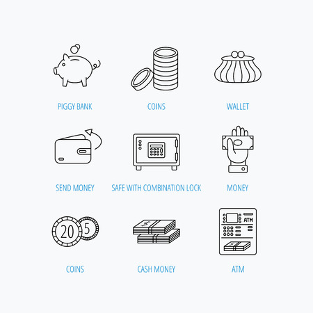 give money: Piggy bank, cash money and wallet icons. Safe box, send money and dollar usd linear signs. Give money, coins and ATM icons. Linear set icons on white background.