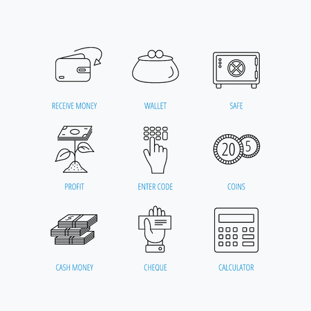 fireproof: Cash money, safe box and calculator icons. Safe box, cheque and dollar usd linear signs. Profit investment, wallet and coins icons. Linear set icons on white background.