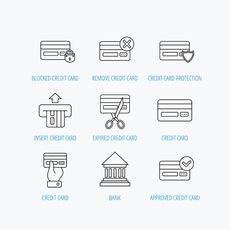 transakcji: Bank credit card icons. Banking, blocked and expired debit card linear signs. Money transactions and shopping icons. Linear set icons on white background. Ilustracja