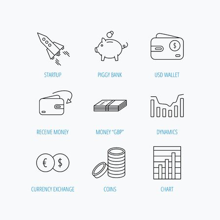 deceleration: Piggy bank, cash money and startup rocket icons. Wallet, currency exchange and dollar usd linear signs. Chart, coins and dynamics icons. Linear set icons on white background. Illustration