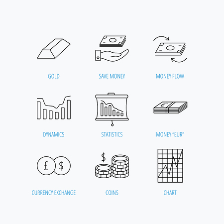 deceleration: Banking, cash money and statistics icons. Money flow, gold bar and dollar usd linear signs. Dynamics chart, coins and savings icons. Linear set icons on white background. Illustration