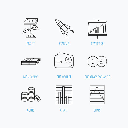 deceleration: Profit investment, cash money and startup rocket icons. Wallet, currency exchange and euro linear signs. Chart, coins and statistics icons. Linear set icons on white background.