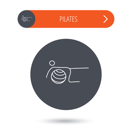 """pilates ball"": Pilates fitness sign. Gymnastic ball icon. Sport workout symbol. Gray flat circle button. Orange button with arrow."