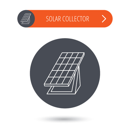 collector: Solar collector icon. Sunlight energy generation sign. Innovation battery power symbol. Gray flat circle button. Orange button with arrow.