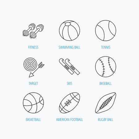 """pilates ball"": Sport fitness, tennis and basketball icons. Baseball, skis and American footmal signs. Rugby, swimming or pilates ball icons. Linear set icons on white background."