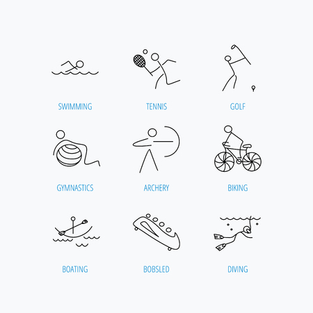Swimming, tennis and golf icons. Biking, diving and gymnastics linear signs. Archery, boating and bobsleigh icons. Linear set icons on white background.