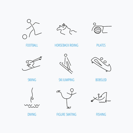 bobsled: Pilates, football and skiing icons. Fishing, diving and figure skating linear signs. Ski jumping, horseback riding and bobsled icons. Linear set icons on white background. Illustration