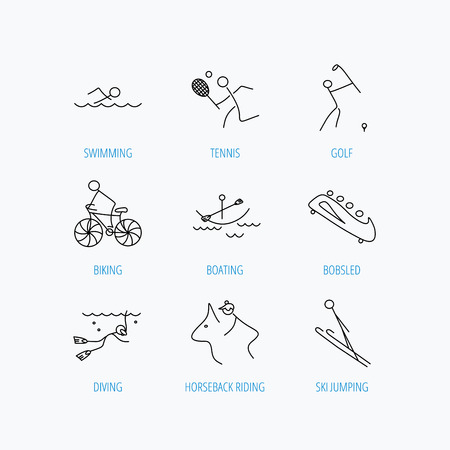 bobsleigh: Swimming, tennis and golf icons. Biking, diving and horseback riding linear signs. Ski jumping, boating and bobsleigh icons. Linear set icons on white background. Illustration