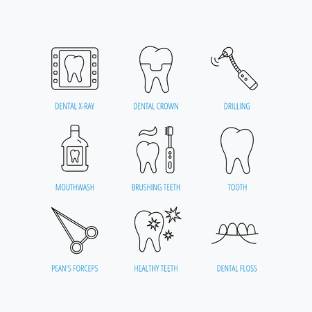 mouthwash: Stomatology, tooth and dental crown icons. X-ray, mouthwash and dental floss linear signs. Toothache, forceps icons. Linear set icons on white background.