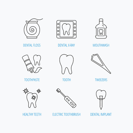 mouthwash: Dental floss, tooth and implant icons. Mouthwash, x-ray and toothpaste linear signs. Electric toothbrush. Linear set icons on white background.