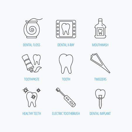 enjuague bucal: El hilo dental, los dientes y los iconos de implantes. Enjuague bucal, radiograf�as y pasta de dientes lineales signos. Cepillo de dientes el�ctrico. Lineal ajustado iconos en el fondo blanco. Vectores