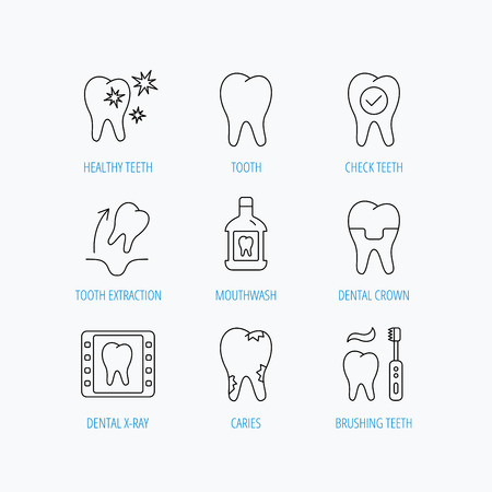 mouthwash: Tooth, dental crown and mouthwash icons. Caries, tooth extraction and hygiene linear signs. Brushing teeth flat line icon. Linear set icons on white background.