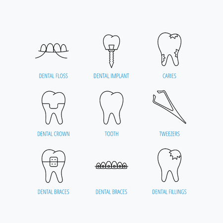 fillings: Dental implant, floss and tooth icons. Braces, fillings and tweezers linear signs. Caries icon. Linear set icons on white background.