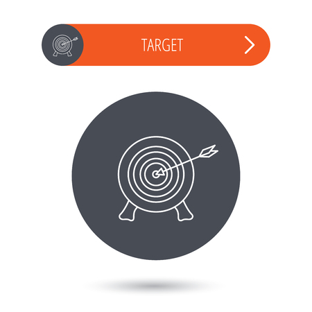 shooter: Target with arrow icon. Archery aiming sign. Professional shooter sport symbol. Gray flat circle button. Orange button with arrow.