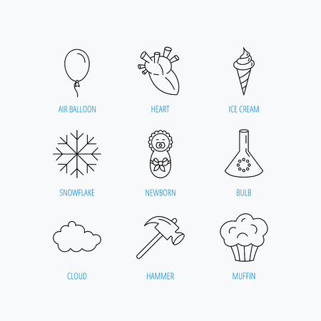 analyses: Newborn, heart and lab bulb icons. Ice cream, muffin and air balloon linear signs. Cloud and snowflake flat line icons. Linear set icons on white background. Illustration