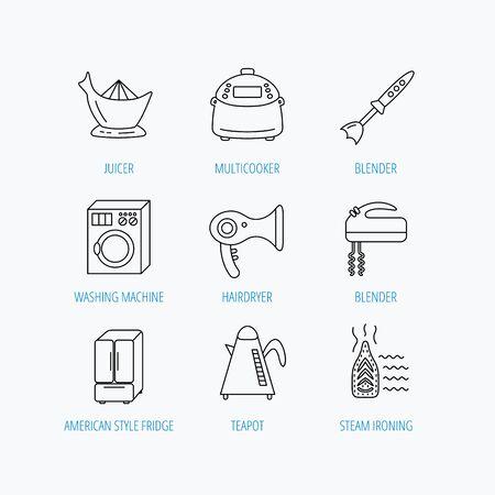 Washing machine, teapot and blender icons. Refrigerator fridge, juicer and steam ironing linear signs. Hair dryer, juicer icons. Linear set icons on white background. Illustration