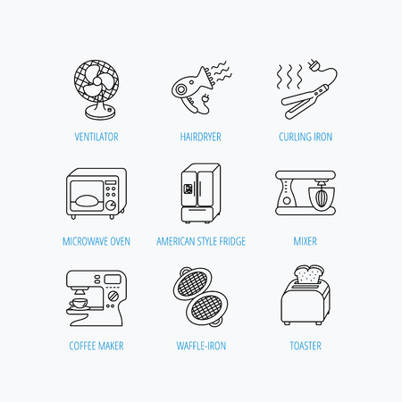coffee blender: Microwave oven, hair dryer and blender icons. Refrigerator fridge, coffee maker and toaster linear signs. Ventilator, curling iron and waffle-iron icons. Linear set icons on white background.