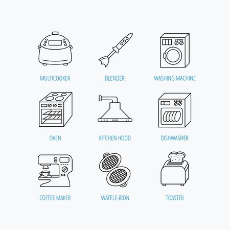 coffee blender: Dishwasher, washing machine and blender icons. Kitchen hood, coffee maker and toaster linear signs. Oven, multicooker and waffle-iron icons. Linear set icons on white background. Illustration