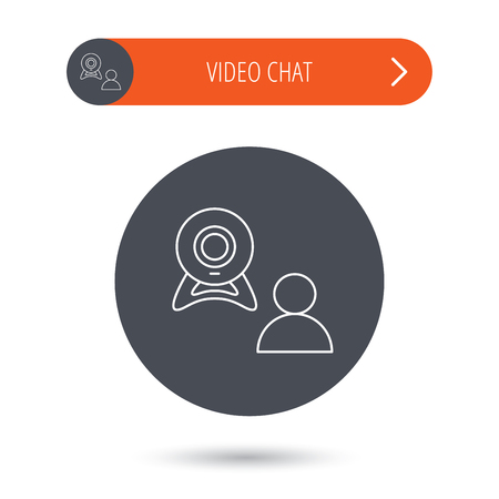 web conference: Video chat icon. Webcam chatting sign. Web conference symbol. Gray flat circle button. Orange button with arrow. Illustration