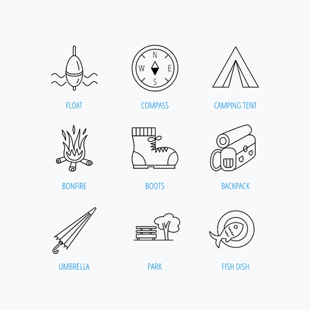 fishing float: Park, fishing float and hiking boots icons. Compass, umbrella and bonfire linear signs. Camping tent, fish dish and tree icons. Linear set icons on white background.