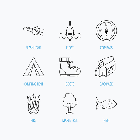 fish fire: Maple tree, fishing float and hiking boots icons. Compass, flashlight and fire linear signs. Camping tent, fish and backpack icons. Linear set icons on white background.
