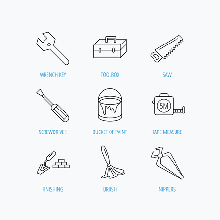 nippers: Wrench key, screwdriver and paint brush icons. Toolbox, nippers and saw linear signs. Finishing spatula icon. Linear set icons on white background.
