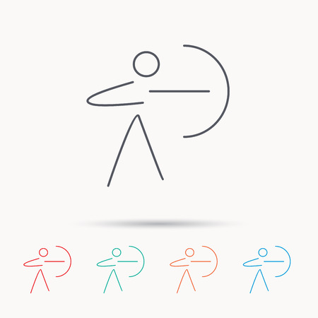 longbow: Archery sport icon. Archer with longbow sign. Aiming or targeting symbol. Linear icons on white background. Illustration