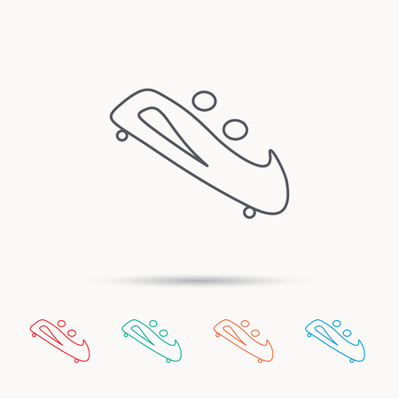 bobsleigh: Bobsleigh icon. Two-seater bobsled sign. Professional winter sport symbol. Linear icons on white background. Illustration