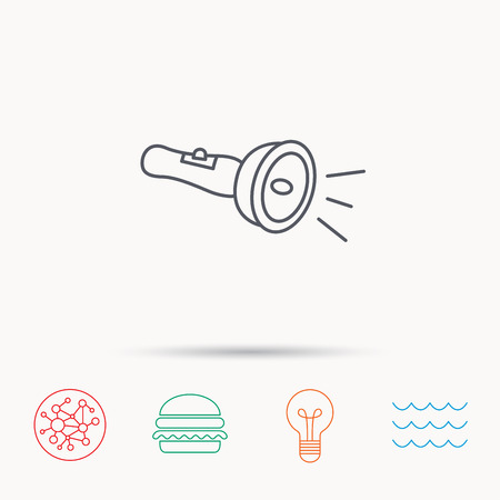 Flashlight icon. Light beam sign. Electric lamp tool symbol. Global connect network, ocean wave and burger icons. Lightbulb lamp symbol.