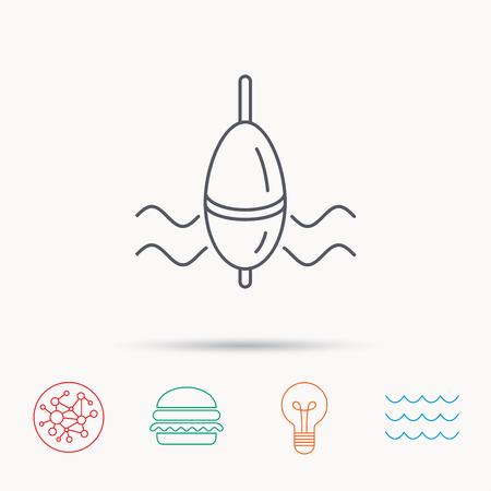bobber: Fishing float icon. Bobber in waves sign. Angling symbol. Global connect network, ocean wave and burger icons. Lightbulb lamp symbol. Illustration
