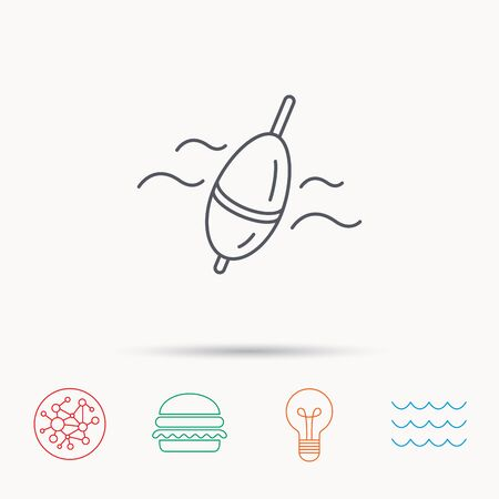 angling: Fishing float icon. Bobber in waves sign. Angling symbol. Global connect network, ocean wave and burger icons. Lightbulb lamp symbol. Illustration