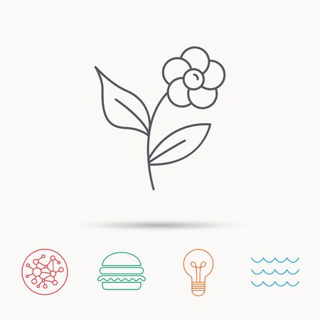 flower lamp: Flower with petals icon. Plant with leaves sign. Floral decoration symbol. Global connect network, ocean wave and burger icons. Lightbulb lamp symbol.