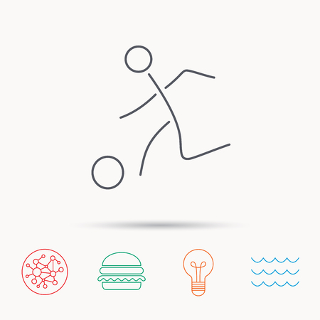 soccer goal: Football icon. Soccer sport sign. Team goal game symbol. Global connect network, ocean wave and burger icons. Lightbulb lamp symbol.