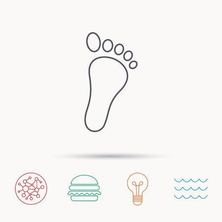 newborn footprint: Baby footprint icon. Child foot sign. Newborn step symbol. Global connect network, ocean wave and burger icons. Lightbulb lamp symbol.