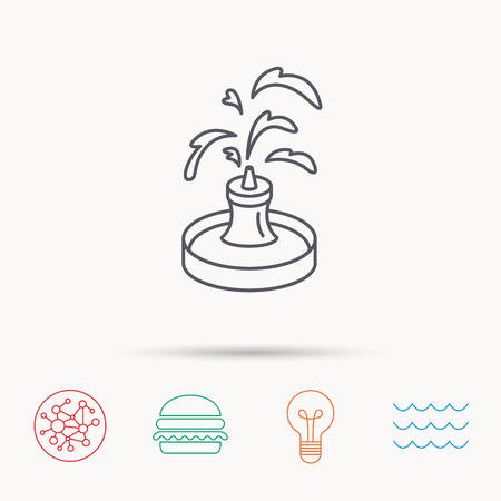 Fountain Icon Water In Park Sign Architecture Symbol Global Connect Network Ocean
