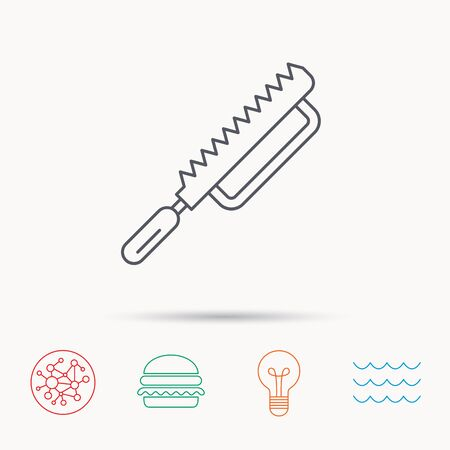 sea saw: Fretsaw icon. Carpenter work tool sign. Global connect network, ocean wave and burger icons. Lightbulb lamp symbol.