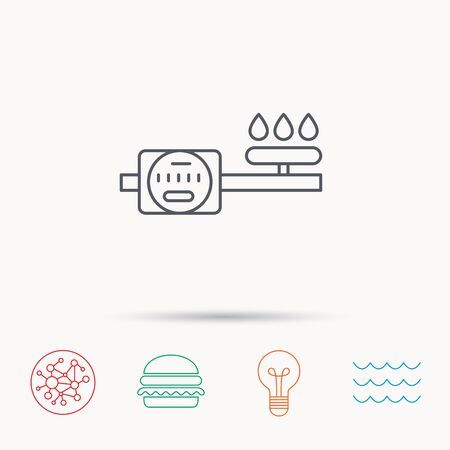 gas lamp: Gas counter icon. Pipe with fire sign. Global connect network, ocean wave and burger icons. Lightbulb lamp symbol. Illustration